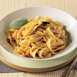 butter and sage tagliatelle // via @L a Cucina Italiana Magazine ... // Strong sage flavor, but good winter pasta.