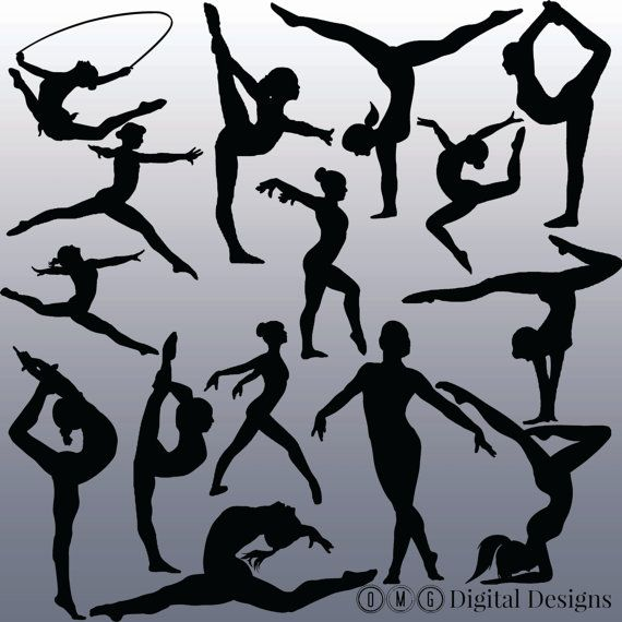 15 Gymnastics Silhouette Digital Clipart by OMGDIGITALDESIGNS