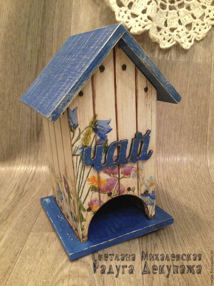 Купить чайный домик Полевые цветы хранение чая декупаж - синий джинсовый бежевый
