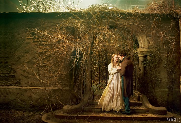 Les Miserables, Beautiful picture! Amanda Seyfried and Eddie Redmayne as the young lovers Cosette and Marius, photographed on set at Pinewood Studios, London. All costumes by Paco Delgado.  Sittings Editor: Tonne Goodman.
