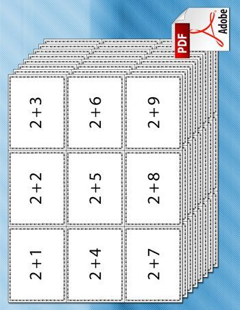 A set of printable addition flash cards for kids, with addition problems made of numbers 1 – 9.