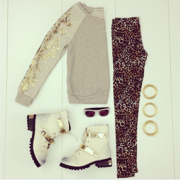 White and gold accents to style this wild outfit! Animal prints are fashion's favorite this season. #madrag #madragstores #madragstyle #outfit #ootd #style #fashion #animal #prints #leopard #gold #boots