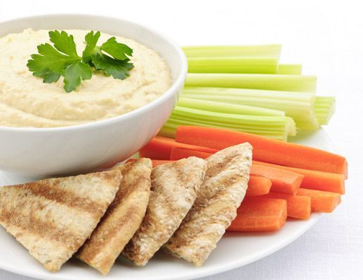 Hummus, raw veggies and pita mmmm serious cravings for this and melon