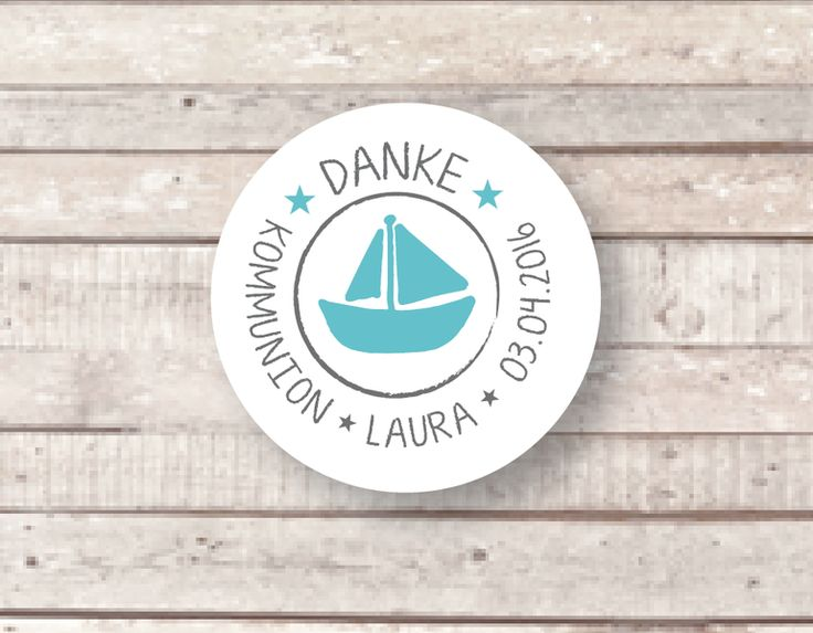 ★ DANKE ★ KOMMUNION ★ 24 Aufkleber ★ Schiff von Lena und Max auf DaWanda.com