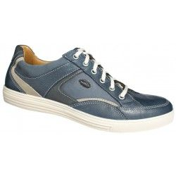 Men's lace up casual shoes in blue. Leather with contoured inner sole and rubber sole underneath. With sporty looks and the signing of Jomos. Final Price: €92,00