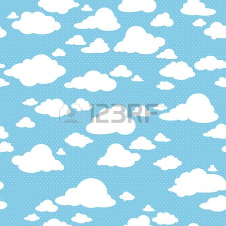 Blue sky with clouds vector seamless pattern Stock Vector