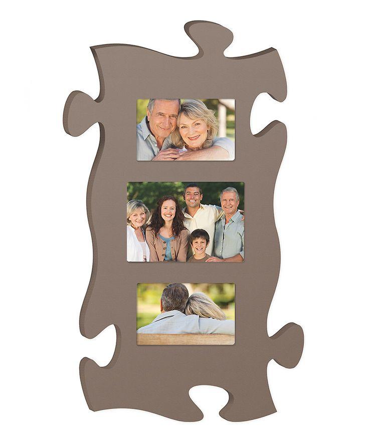 P Graham Dunn Brown Puzzle Piece Collage Frame Photos
