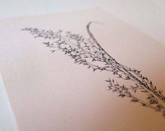 Small handmade original botanical mono print. Stef Mitchell. Wild moorland grass. Minimal and delicate floral art. FREE shipping worldwide