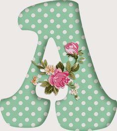 Alfabetos Lindos: Alfabeto decorativo verde com bolinhas brancas e flores!