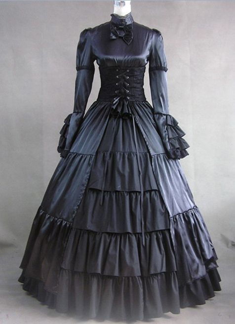 Long Sleeves Black Gothic Victorian Style Gown