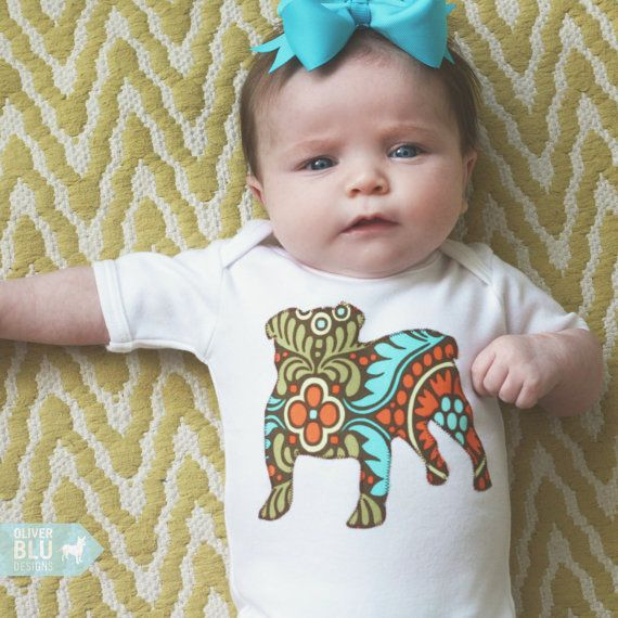 English Bulldog baby one-piece bodysuit or toddler t-shirt - You pick the fabric on Etsy, $22.00