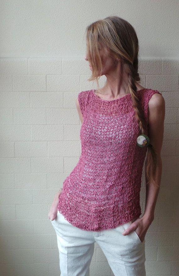 Pink Vest / Antique pink cotton mix summer tank / vest by ileaiye,