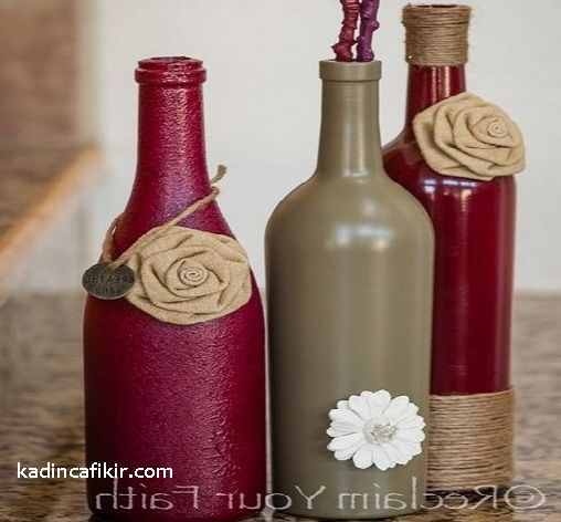 Cam şişe boyama ile çiçekli güllü ip kumaş süsleme kırmızı kahve üçlü cam şişe süs eşyası modeli | Kadınca Fikir