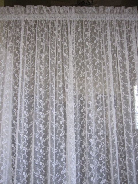 White Lace Curtain Ruffled Edge Lace Curtain with by TheCottageWay, $42.00