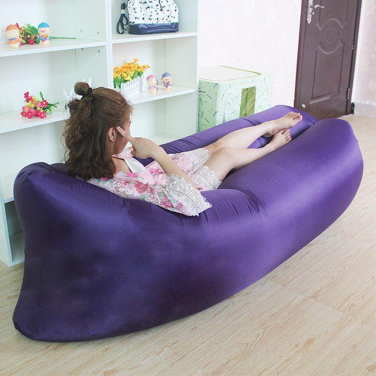 A 250*72CM Inflatable Sofa Portable Sleeping Bag Folding Air Sofa Bed Adult Outdoor Recreation Lounger