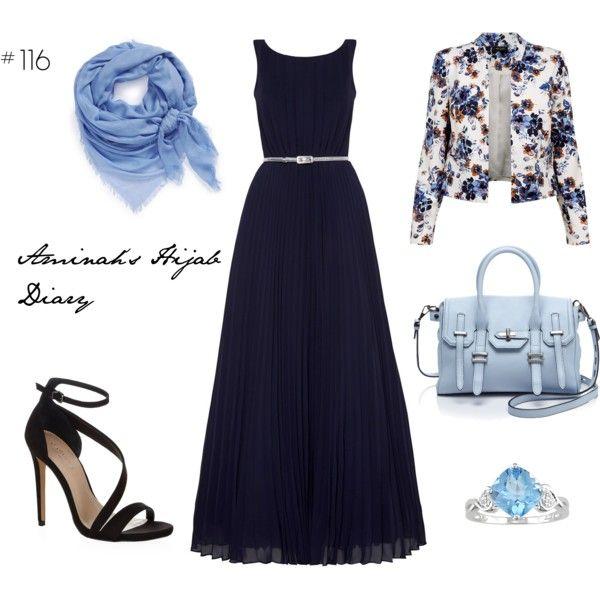 Black dress, floral blazer, black heels, blue and silver ring, light blue scarf and bag