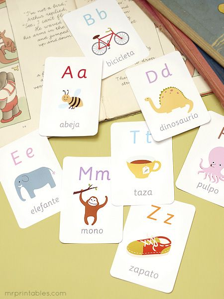 printable spanish alphabet flash cards - ask Mr Printables to make some for your language of choice!