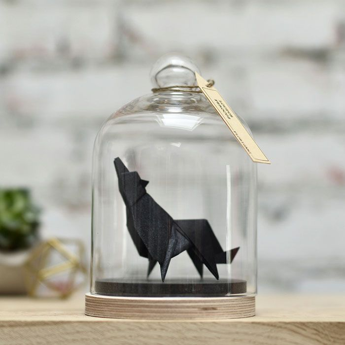 Origami animals in glass