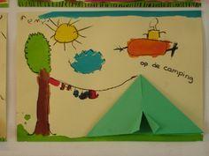* Camping! Eerst een tent vouwen en daarna met wasco het een en ander erbij tekenen (waslijn met kleren, zon, vliegtuig etc.). Daarna inververven met ecoline