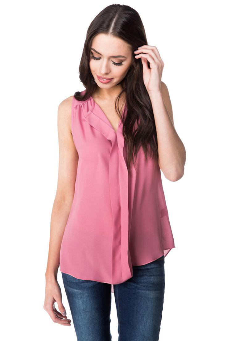 Sleeveless Blouse with Front Detail