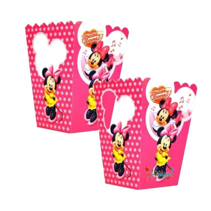 Minnie Mouse Mısır Kutusu Mini Mouse Popcorn Ürün Özellikleri  Paket içerisinde 10 Adet Minnie Mouse Mısır Kutusu bulunur. Karton Minnie Mouse Popcorn Kutusu Kaliteli ve canlı renkli baskıdır. Minnie Mouse temalı mısır kutularının ebatları eni 8 cm, boyu 11.5 cm'dir. Görüntüdeki mısır görsel amacıyla kullanılmıştır.
