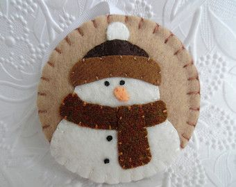 Felt Snowman Ornament Felted Wool Felt by pennysbykristie on Etsy