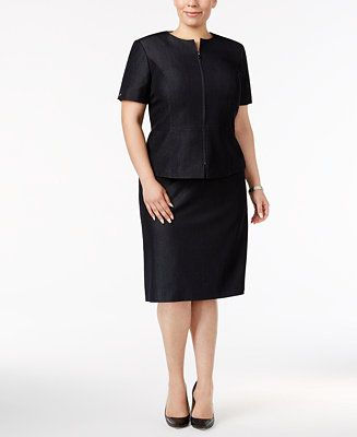 Tahari ASL Plus Size Short-Sleeve Zip-Up Skirt Suit - Suits & Suit Separates - Plus Sizes - Macy's