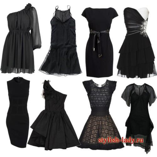 Короткое черное платье модели