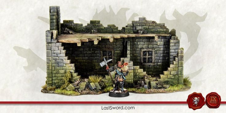 Ruined house for Warhammer fantasy, Mordheim (Empire in flames), Frostgave, and others fantasy wargames.