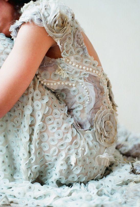 Pale blue wedding dress, Claire Pettibone