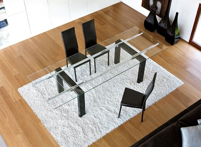 Modern Unico Boma Extending Glass Top Dining Table with Marble legs