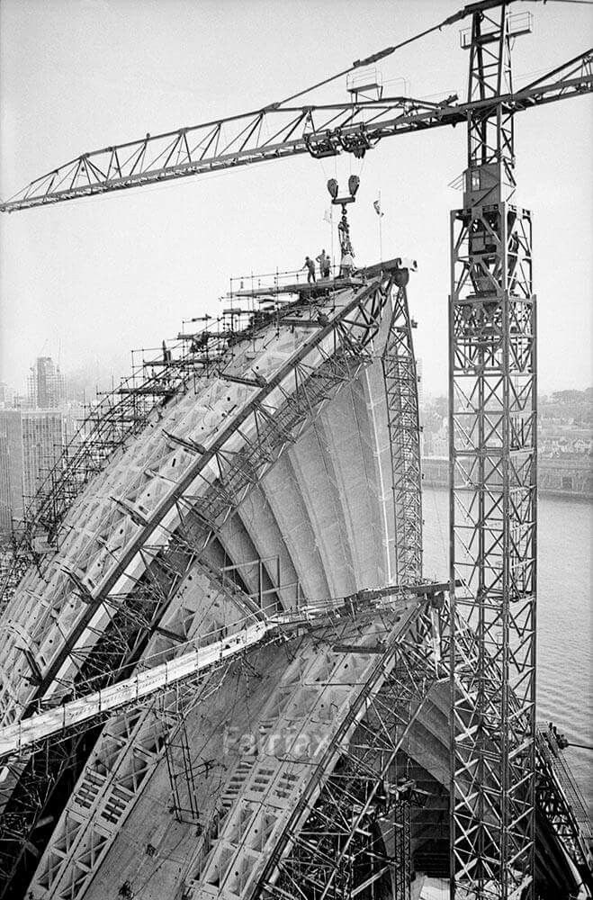 Construction of the Sydney Opera House's sails in 1966. •Fairfax Archives•