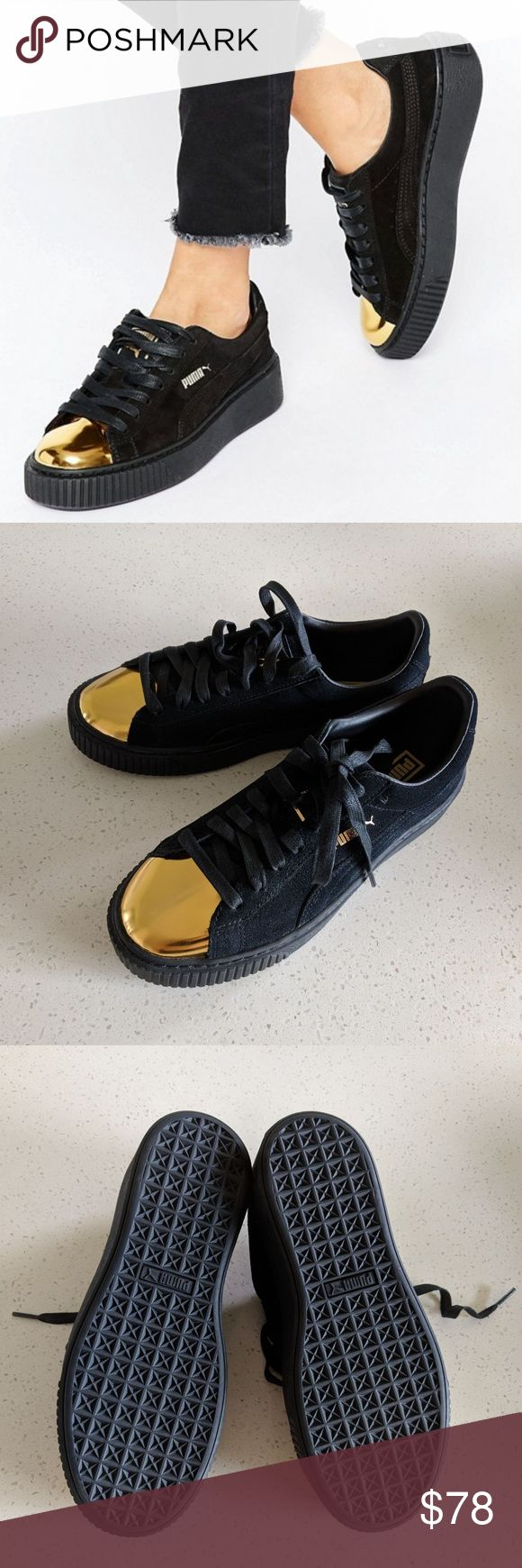 Puma Creepers Black Suede Gold Cap Toe 8 NWOB New without box Puma black suede gold toe Creeper shoes, size 8. I believe these are from the Rihanna Fenty collection. One shoe has a faint hazy spot in the metallic (see last pic)-- not at all noticeable when worn. Puma Shoes Sneakers