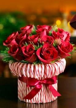 Christmas table centerpiece Red rose & candy canedécor ToniKami Joyeux Noël DIY crafts