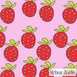 strawberries digital pattern