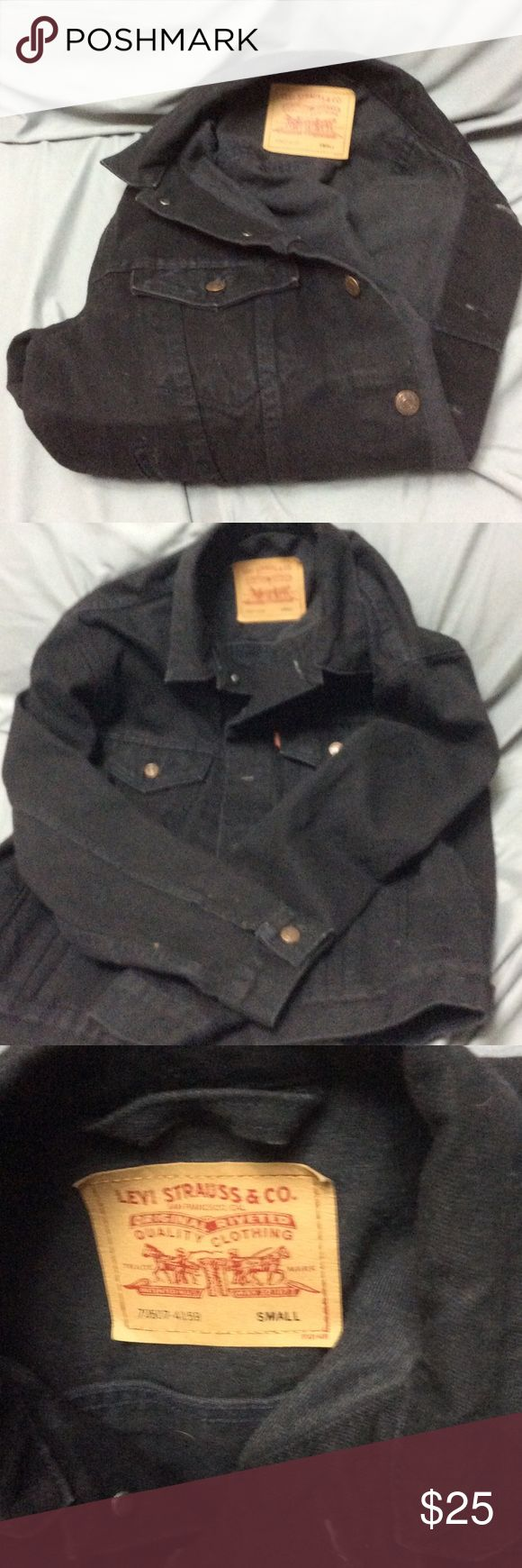 BLACK DUNGAREE JACKET Black Dungaree Jacket- with Copper Colored buttons with 2 pockets on the front - SIZE SMALL ( MENS) BUT FITS LARGE OR EX LARGE-   HARDLY WORN.  I ALSO HAVE A BLACK LEATHER JACKET FOR SALE.. PICS UPON REQUEST.  $75.00 LEVI STRAUSS & CO Jackets & Coats Jean Jackets