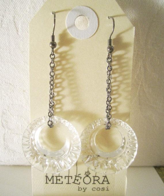 Crystal Loop Earrings by meteorabycosi on Etsy, $10.00