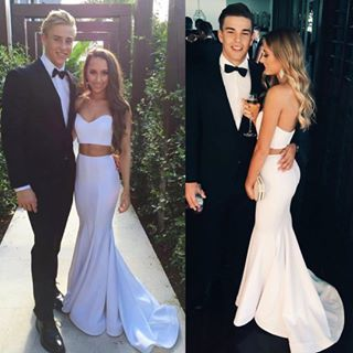 2017 White Long Prom Dress, Mermaid Long Prom