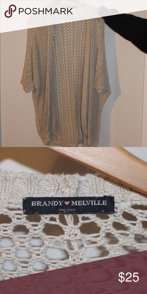 tan mesh brandy melville cardigan this item is longer and one size, and no longer in store. cute to any outfit!! Brandy Melville Jackets & Coats