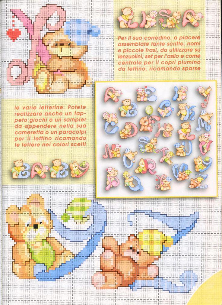 alfabeto teneri orsetti (4) - magiedifilo.it punto croce uncinetto schemi gratis hobby creativi