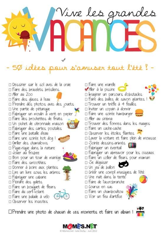 La to-do list des vacances !
