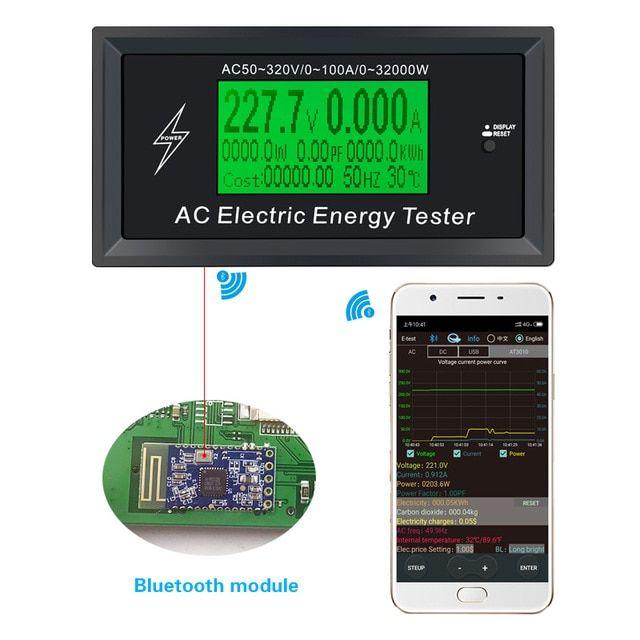 3kkw Digital Voltage Phone App Ac Meters Indicator Power Energy Voltmeter Ammeter Current Amps Volt Wattmeter Tester Detector R Power Energy Phone Apps Digital