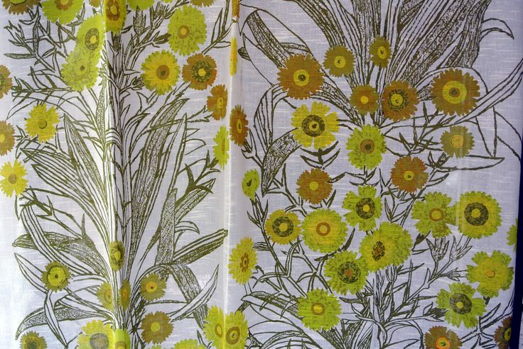 Pair of Swedish vintage 1960s highquality linenprepared cotton design curtains with printed large flower/ leafe motive on bonewhite bottom by NORDICARTCURIOSITY on Etsy