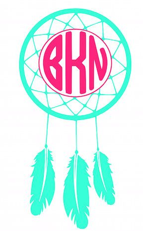 This listing is for one custom vinyl monogram decal. --Dream Catcher (your choice of color) with monogram (your choice of color) --Made of