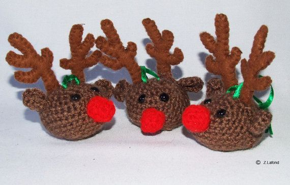 Amigurumi Reindeer Tree Decorations by MojosDelights on Etsy