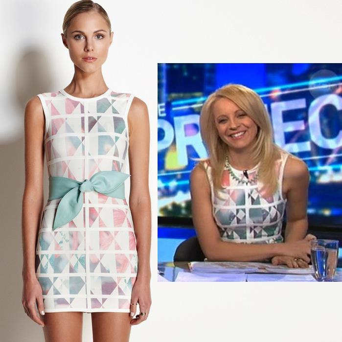 Carrie Bickmore from The Project wears the WHITE LOVE geometric print mini dress! ONLY ONE LEFT IN STOCK of this gorgeous number! Shop Now xx http://zipmeup.co.nz/Talulah/White-Love-Dress