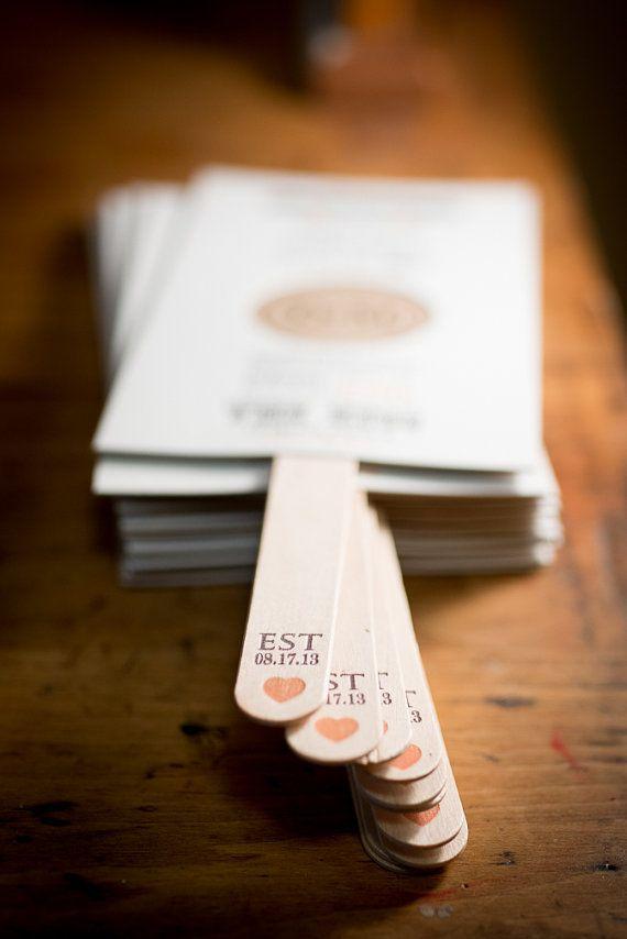 50 - Custom Designed Letterpress Wedding Program Fans with printed handles, Die Cut, Wedding Program, Wedding Fan. Hand Made