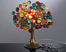 Table lamp with multicolored  bubbles rainbow shade