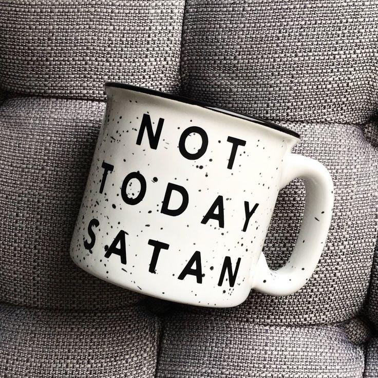 Not Today Satan / Stoneware Mug / Fall Mug / Winter Mug /Coffee Mug by FWMadeCrafts on Etsy