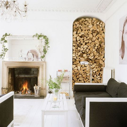 Living Room With Alcove For Log Storage Shabby Chic